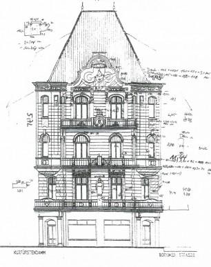 KuDamm 123 Fassadensanierung Fassadenzeichnung
